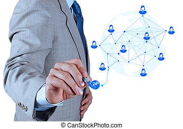 conceito, serviço, trabalhando, mostrar, modernos, computador, homem negócios, novo, estrutura, rede