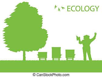 conceito, seu, trabalhando, cartaz, apicultor, vetorial, ...