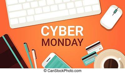 conceito, shopping, segunda-feira, cartaz, laptop, venda, cyber, telefone, fundo, grande, online, teclado, feriado, rato, esperto
