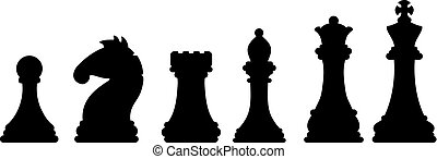 conceito, silhouettes., imagem, pedaços, jogo, pretas, xadrez