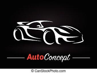 conceito, silueta, car, esportes, experiência., desenho, veículo, pretas, super