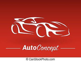 conceito, silueta, car, esportes, experiência., desenho, veículo, super, vermelho