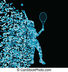 conceito, silueta, cartaz, tênis, triangular, ilustração, esportes, jogadores, vetorial, fundo, ativo, explosão, fragmentos, feito