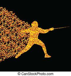 conceito, silueta, cercar, triangular, ilustração, esportes, jogadores, vetorial, fundo, cartaz, ativo, explosão, fragmentos, feito