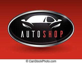 conceito, silueta, cromo, car, esportes, veículo, logotipo, emblema