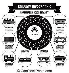 conceito, simples, estrada ferro, infographic, estilo