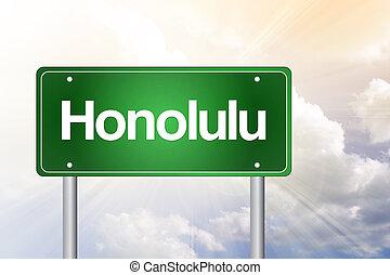 conceito, sinal, viagem, verde, honolulu, estrada