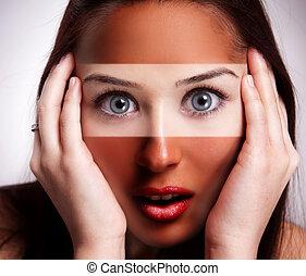 conceito, sobre, -, rosto, mulher, metade, sunburn, bronzeado
