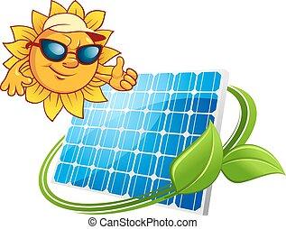 conceito, sol, energia, solar, caricatura, painel