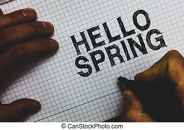 conceito, spring., inverno, comunicar, florescer, texto, paper., após, quadrado, idéias, mensagens, significado, importante, segurando, estação, marcador, dando boas-vindas, letra, flores, olá, homem