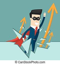 conceito, success., negócio, global, ilustração, caricatura