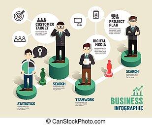 conceito, sucedido, negócio, jogo, ilustração, passo,...