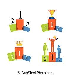 conceito, sucesso, ícones, vencedor, vetorial, pódio