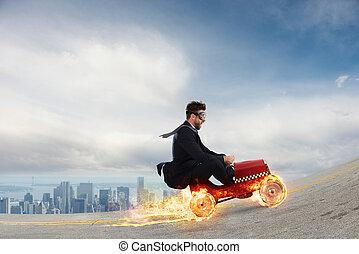 conceito, sucesso, ganha, contra, rapidamente, competitors., homem negócios, competição, car