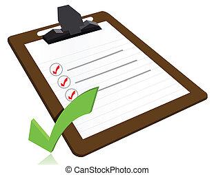 conceito, sucesso, lista, área de transferência, cheque, fresco