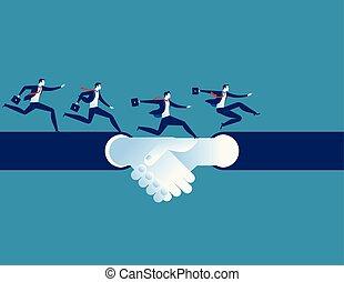 conceito, sucesso, negócio, character., acordo, mão, executando, vetorial, homem, caricatura, shake., illustration.