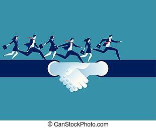 conceito, sucesso, pessoas negócio, character., acordo, mão, executando, vetorial, caricatura, shake., illustration.