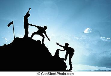 conceito, sucesso, trabalho, ajudando, equipe, escalando