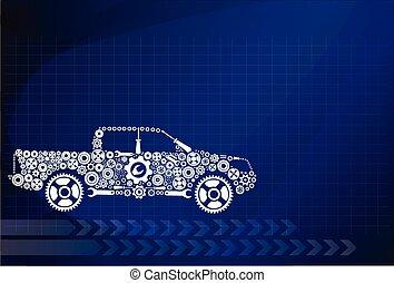 conceito, symbolizing, a, car, como, um, mecanismo
