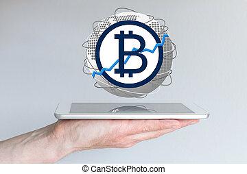 conceito, tabuleta, câmbio, global, bitcoin, mão, moeda...