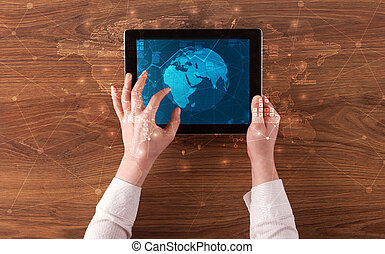 conceito, tabuleta, global, relatórios, mão, mercado, segurando, mudança, estoque