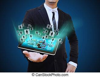 conceito, tabuleta, negócio, segurando, homem negócios, tecnologia