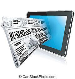 conceito, tabuleta, -, pc, digital, jornal, notícia, witn