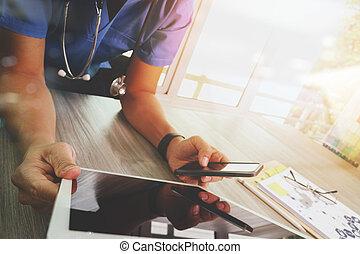 conceito, tabuleta, trabalhando, doutor, médico, modernos, mão, medicina, computador,  digital,  interface, rede