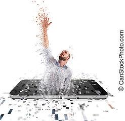 conceito, technology., internet, homem negócios, vício, ...