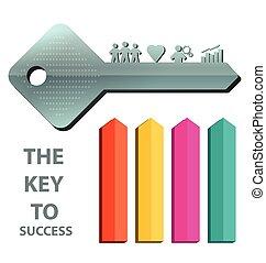 conceito, tecla, sucesso, 2, fundo, modelo