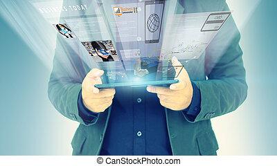 conceito, tecnologia, negócio, trabalhando,  virtual, tela, negócio, homem