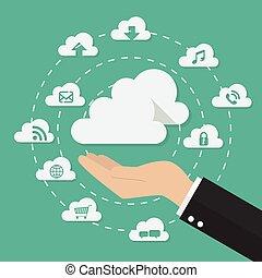 conceito, tecnologia, nuvem, mão, computando