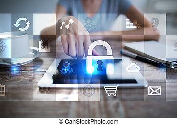 conceito, tela, virtual, proteção, cyber, segurança, dados