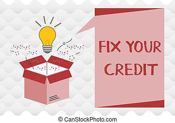conceito, texto, dificuldade, credit., mantenha, crédito,...