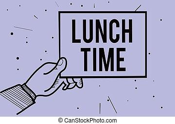 conceito, texto, meio, papel, pequeno almoço, antes de, informação, pontilhado, roxo, escrita, experiência., time., segurando, comunicar, após, mão, almoço, significado, dia, homem, jantar, letra, refeição