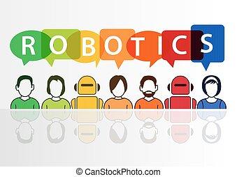 conceito, texto, robótica, robôs, fundo, branca