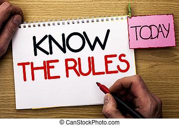 conceito, texto, rules., marcador, escrita, escrito, livro, segurando, ser, negócio, ciente, regulamentos, caderno, saber, fundo, today., procedimentos, protocols, homem, palavra, madeira, leis