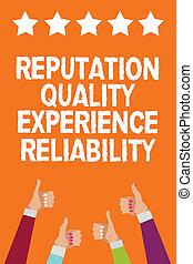 conceito, texto, satisfação, polegares, qualidade, informação, serviço, escrita, experiência., estrelas, laranja, bom, homens negócio, cinco, mãos, aprovação, mulheres, cliente, palavra, reliability., cima, experiência, reputação