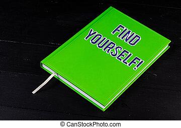 conceito, texto, yourself., significado, selfsufficient, coisas, tornar-se, letra, achar