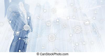 conceito, things., negócio, mídia, indústria, global, connection., virtual, screen., diagram., internet, misturado, esperto, inovação