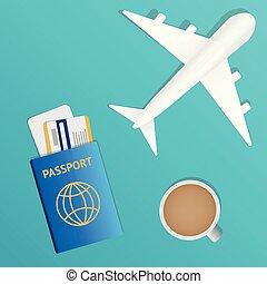 conceito, tickets., banner., viagem, -, férias, ilustração, ar, vetorial, passaporte, avião, bandeira, design.