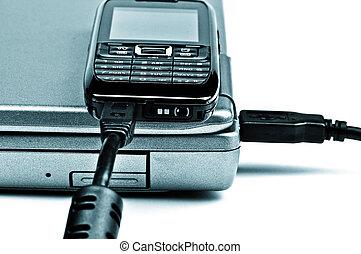 conceito, tom, laptop, alto, telefone, 2, conectado, ...