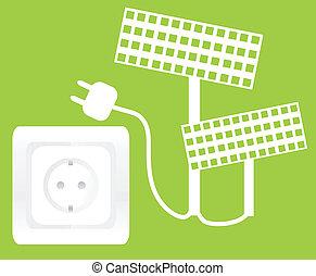 conceito, tomada, energia, ecologia, painel solar