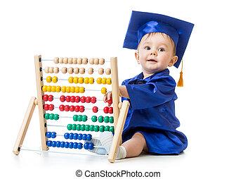 conceito, toy., cedo, aprendizagem, criança, bebê, ábaco, tocando