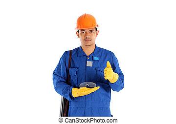 conceito, trabalhador, ásia, vidro, construção, segurança