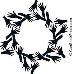 conceito, trabalho equipe, circle., comunidade, mãos