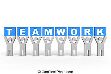 conceito, trabalho equipe, homens, 3d