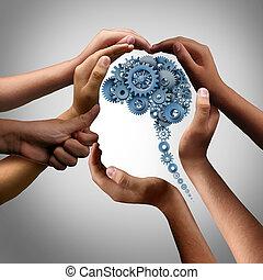 conceito, trabalho equipe, idéia, negócio
