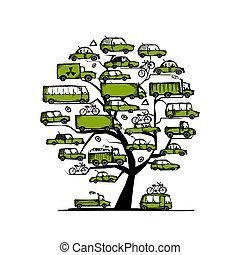 conceito, transporte, árvore, carros, desenho, verde, seu