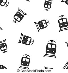 conceito, transporte, illustration., negócio, padrão, símbolo, pattern., seamless, experiência., vetorial, trem, ícone